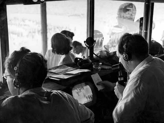 Commentary Box at The Stadium with a TV receiver adapted to be a monitor