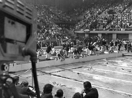 Televising the swimming using CPS Emitrons in The Empire Pool